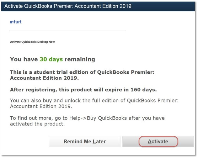 Activate QuickBooks- screenshot