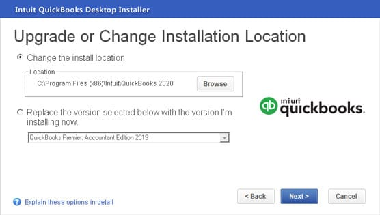 Change the Install Location - Screenshot