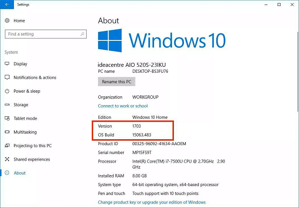 Check the version of your Windows 10 - Screenshot