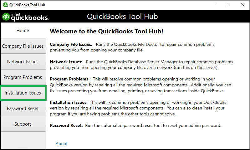 Choose Installation Issues from QuickBooks Tools Hub - Screenshot