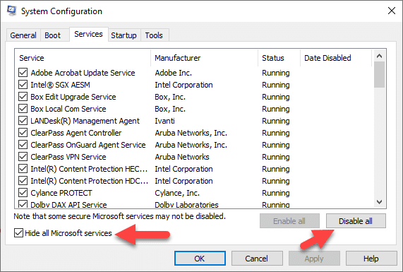 Disable all in selective startup option - Screenshot Image