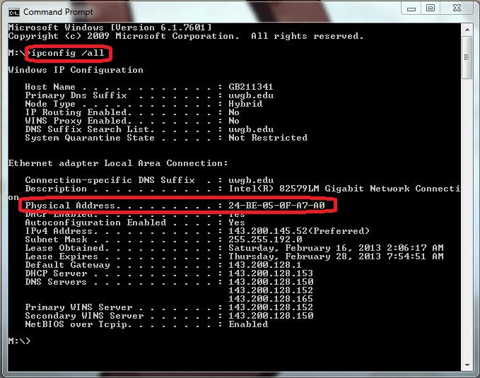 Enter ipconfig-all - Screenshot