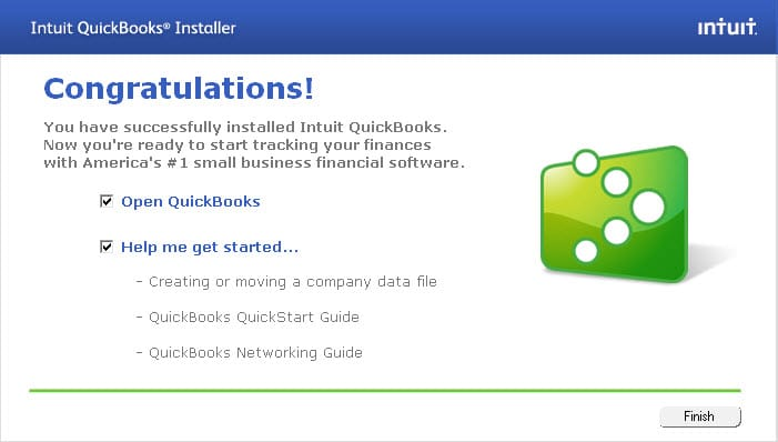 Open QuickBooks to get started - Screenshot