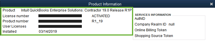 Product key and License number (Product Information) - Screenshot Image