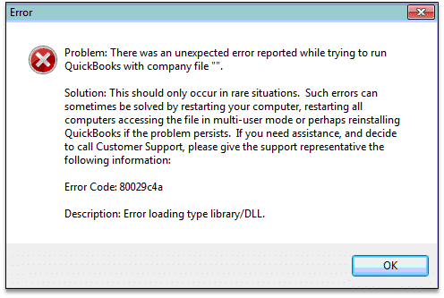 QB Error 80029c4a: Error Loading Type Library/DLL - Screenshot