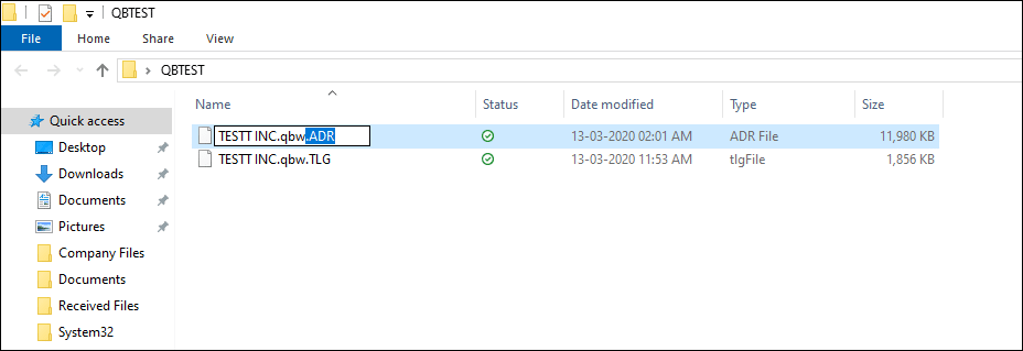 QBTest folder in QUickBooks - Screenshot