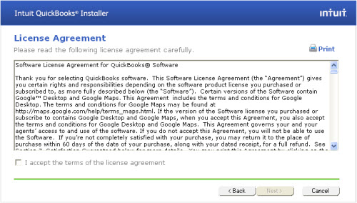 QuickBooks Installer License Agreement - Screenshot