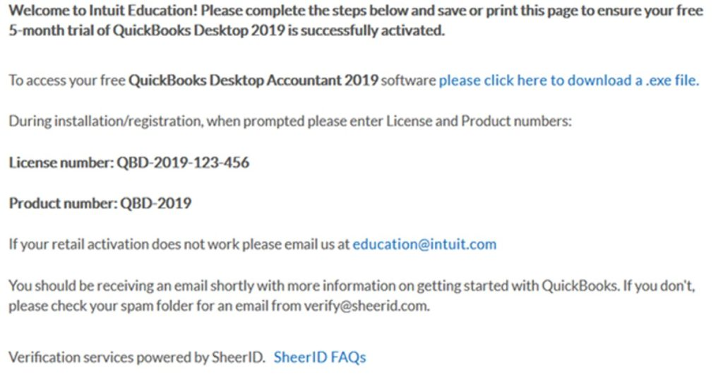 QuickBooks student discount-screenshot