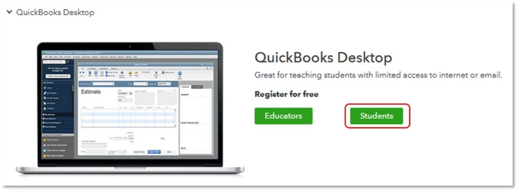 Register QuickBooks student discount- Screenshot