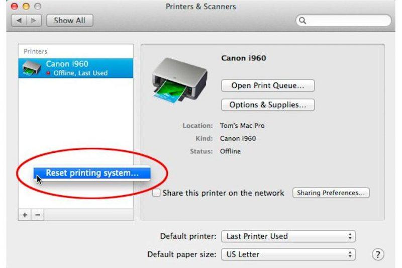 Reset the printer settings - Screenshot Image