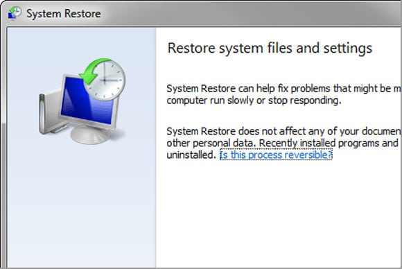 Restore your computer - Screenshot