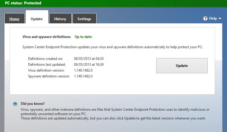 Update security software - Screenshot Image