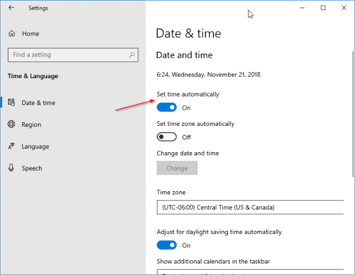 Verify your system's date and time in Windows 10 - Screenshot