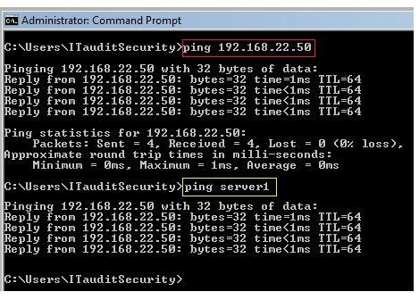 type ping [servername] - Screenshot