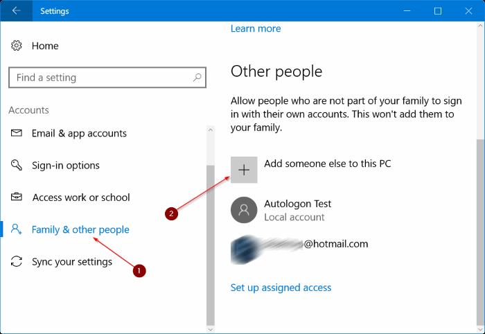 Add a new user account - Screenshot