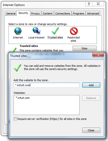 Adding Intuit as trusted site - Screenshot