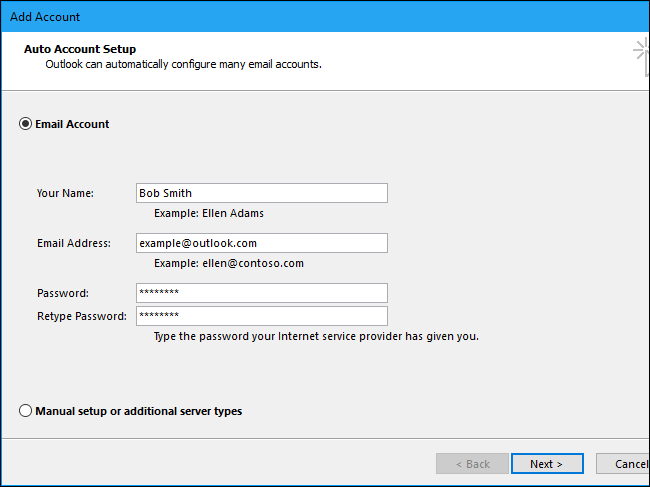 Adding an email account to Microsoft outlook - Screenshot 1