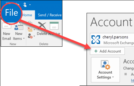 Adding an email account to Microsoft outlook - Screenshot