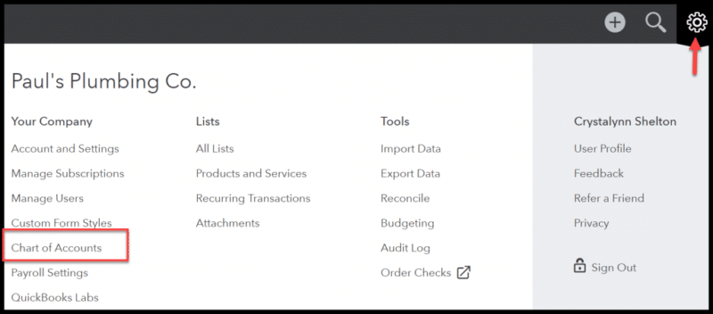 Charts of Accounts Command - Screenshot