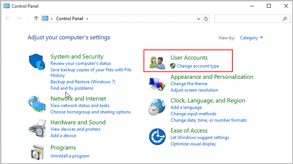 Click User Accounts in Control Panel - Screenshot