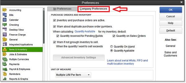 Company preferences option - Screenshot Image