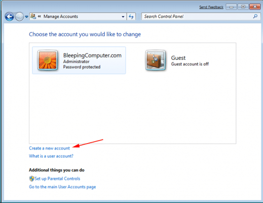 Create new Windows Admin User - Screenshot Image