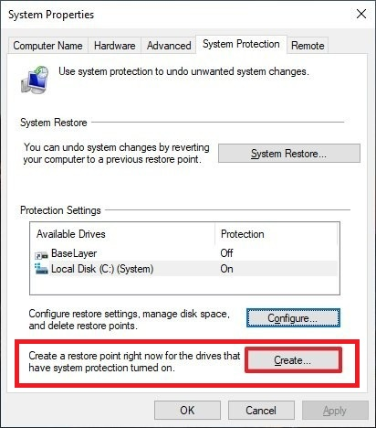 Create restore point Windows-10 - Screenshot