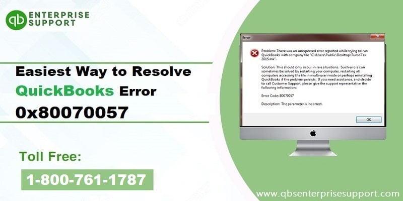 Easy steps to fix QuickBooks Error Code 80070057 - Featured Image