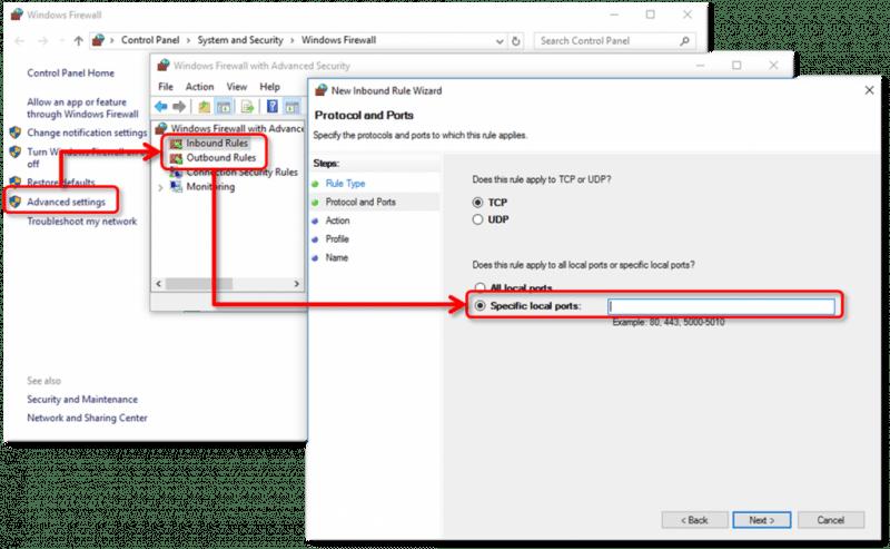 Firewall ports-screenshotFirewall ports-screenshot