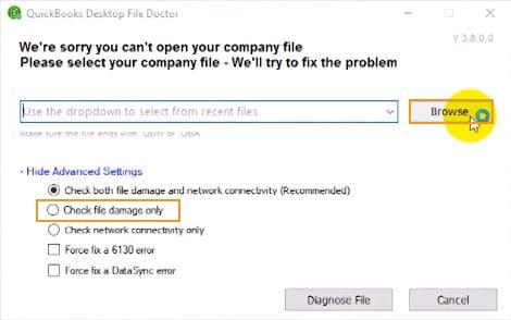 How to Repair QuickBooks File doctor - Screenshot