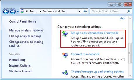 Internet Connection Set Up - Screenshot
