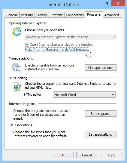 Internet Explorer as the default browser - Screenshot