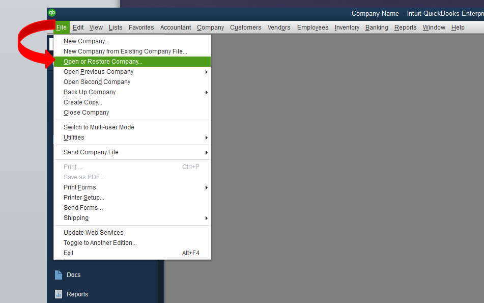 Open or restore company file in QuickBooks - Screenshot