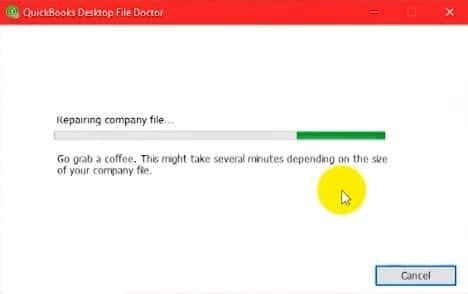 Process of Reparing the company file - Screenshot