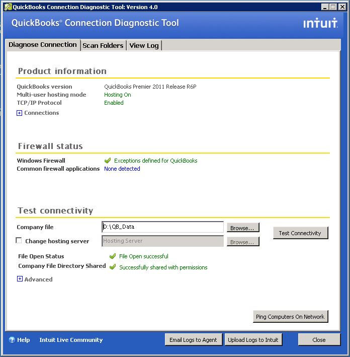 QuickBooks Connection Diagnostic Tool - Screenshot