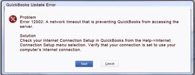 QuickBooks Error Code 12002 - Screenshot