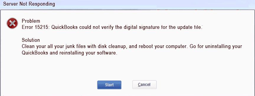 QuickBooks Error Code 15215 - Screenshot