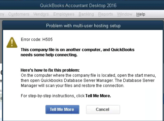 QuickBooks Error Code H505 - Screenshot