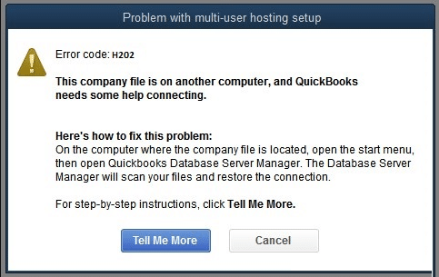 QuickBooks Error H202 - Screenshot