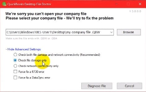 QuickBooks File Doctor Check Damage File - Screenshot