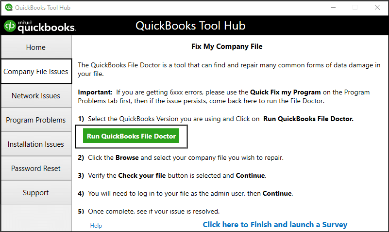 QuickBooks File Doctor tool - Screenshot
