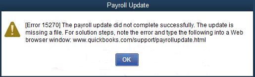 QuickBooks Payroll Error Message 15270 - Screenshot