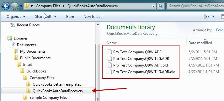QuickBooks auto data recovery-screenshot