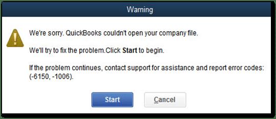 QuickBooks error code 6150, -1006 - Screenshot