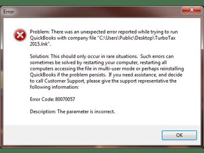 QuickBooks error message 80070057 - screenshot