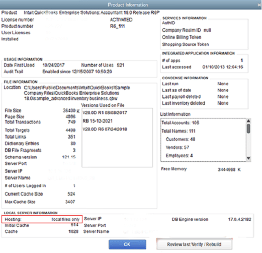 QuickBooks product information-screenshot
