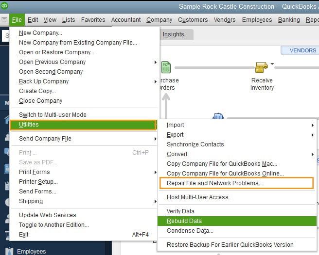 Repair file and Network problems - Screenshot