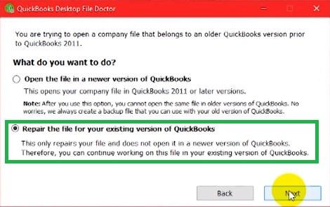 Repair the Company-File - Screenshot
