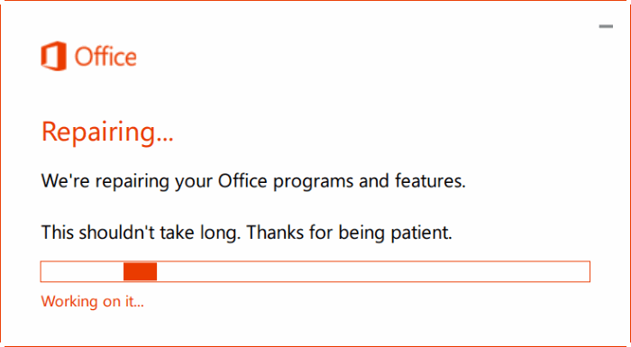 Repairing Microsoft office - Screenshot