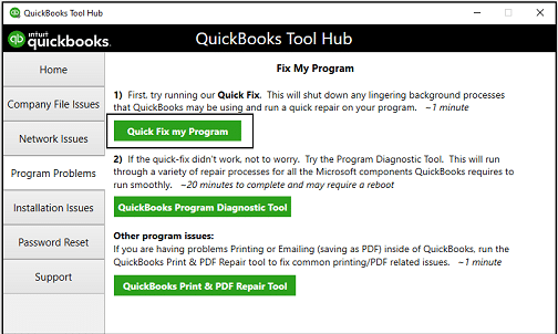 Run Quick Fix my Program - Screenshot